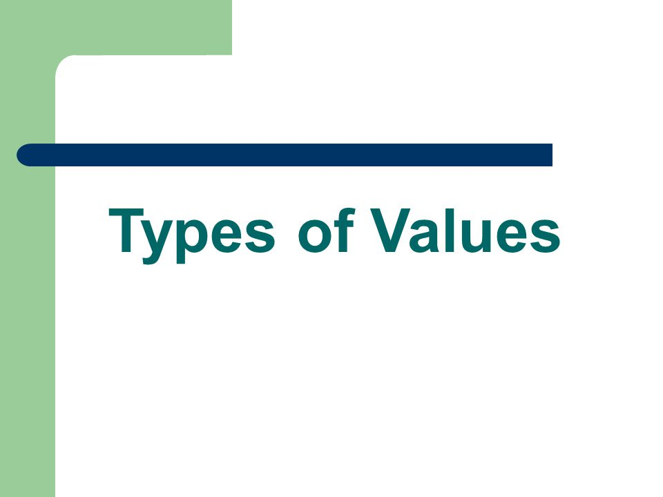 Moral Values What is right or wrong; codes by which to live What is an example?