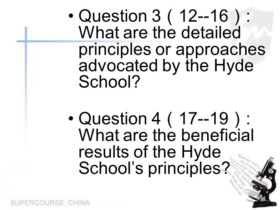 Question 3 ( 12--16 ) : What are the detailed principles or approaches advocated by the Hyde School.