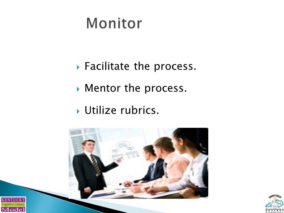  Facilitate the process.  Mentor the process.  Utilize rubrics.