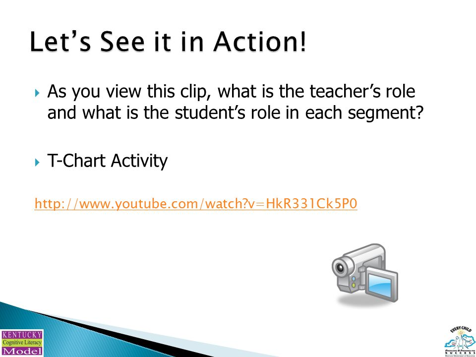  As you view this clip, what is the teacher's role and what is the student's role in each segment.