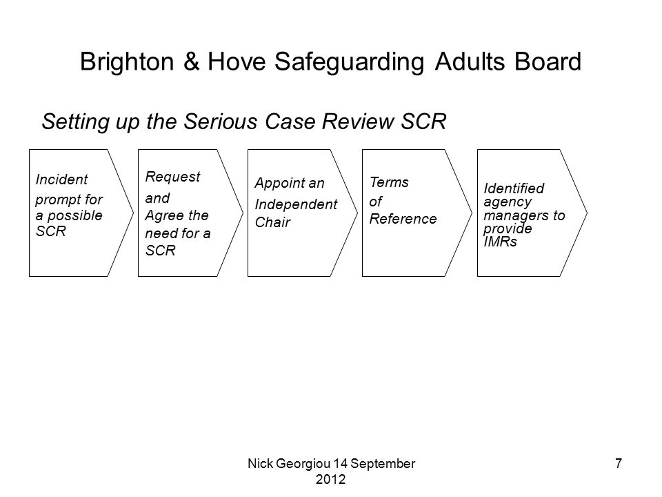 Nick Georgiou 14 September 2012 7 Brighton & Hove Safeguarding Adults Board Incident prompt for a possible SCR Setting up the Serious Case Review SCR