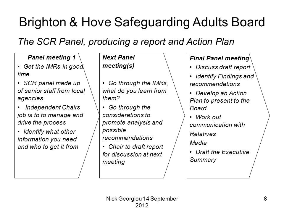 Nick Georgiou 14 September 2012 8 The SCR Panel, producing a report and Action Plan Brighton & Hove Safeguarding Adults Board Panel meeting 1 Get the IMRs in good time SCR panel made up of senior staff from local agencies Independent Chairs job is to to manage and drive the process Identify what other information you need and who to get it from Next Panel meeting(s) Go through the IMRs, what do you learn from them.