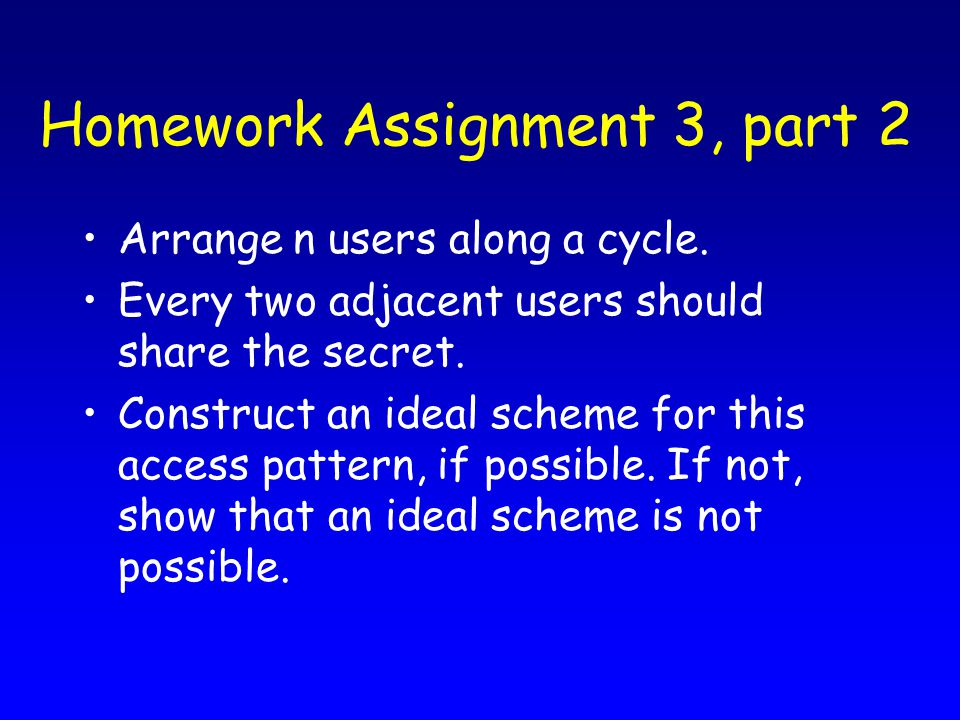 Homework Assignment 3, part 2 Arrange n users along a cycle.