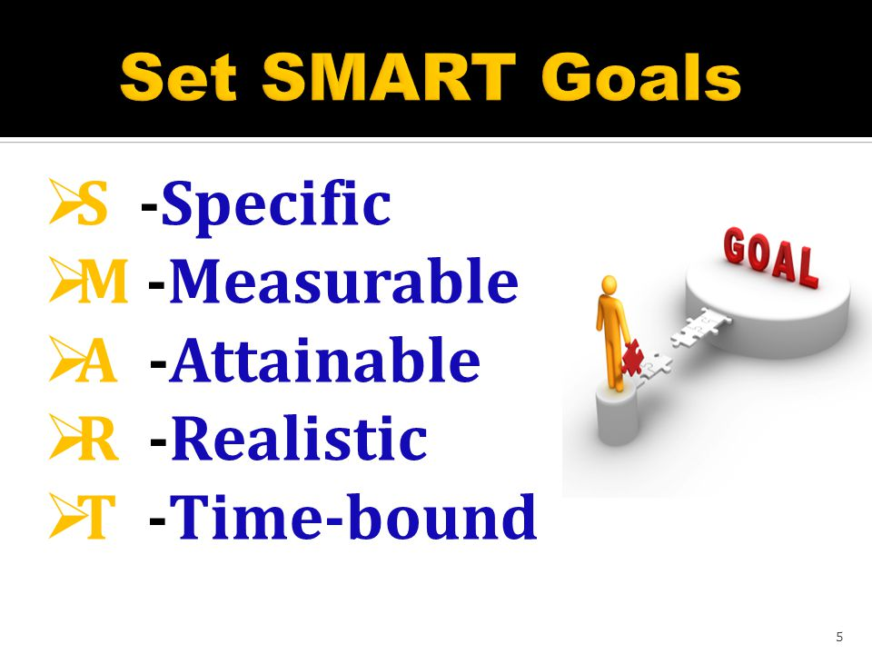 INGREDIENTS OF ACHIEVING GOALS Responsibility – don t blame others Hard work – ready to work at any time Time- to do work on time Learning - life long processes Planning – prepare your steps Commitment – maintain your goals 4