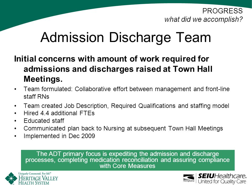 Admission Discharge Team Initial concerns with amount of work required for admissions and discharges raised at Town Hall Meetings.