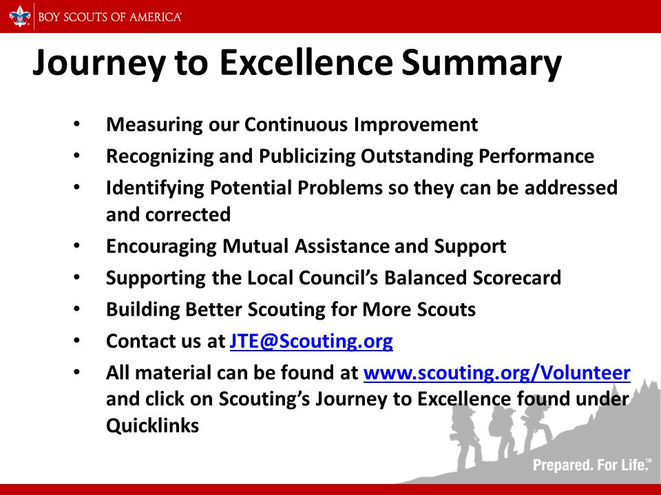 Journey to Excellence Summary Measuring our Continuous Improvement Recognizing and Publicizing Outstanding Performance Identifying Potential Problems