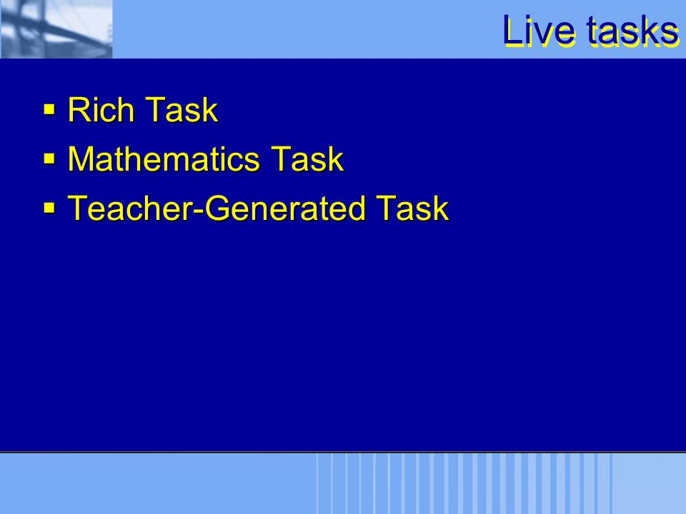 Live tasks  Rich Task  Mathematics Task  Teacher-Generated Task