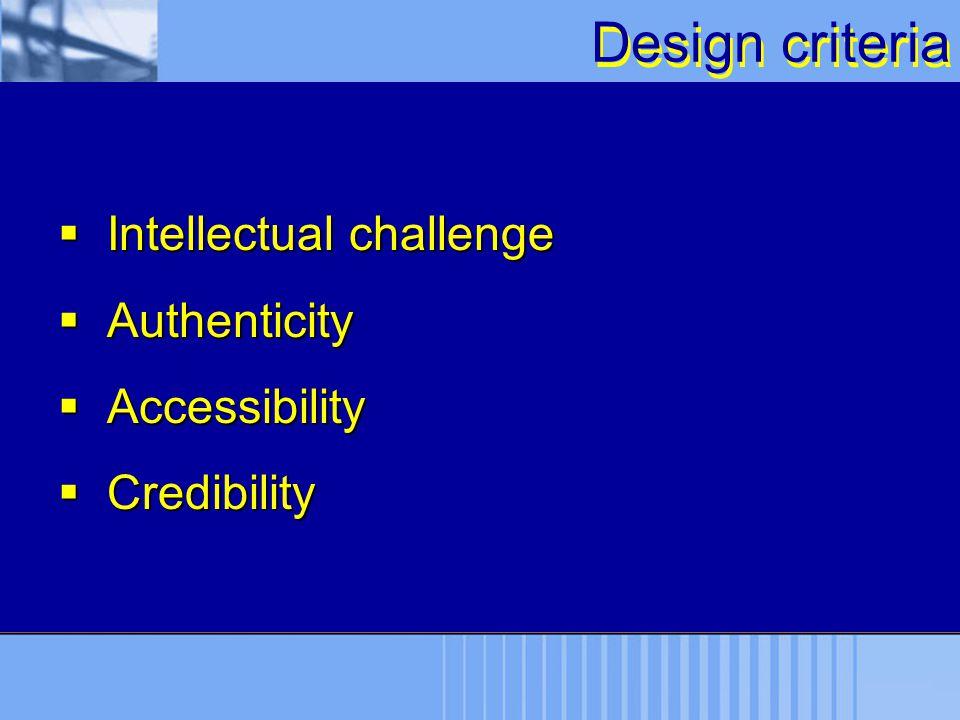 Design criteria  Intellectual challenge  Authenticity  Accessibility  Credibility