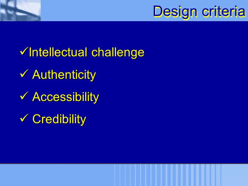 Design criteria Intellectual challenge Intellectual challenge Authenticity Authenticity Accessibility Accessibility Credibility Credibility