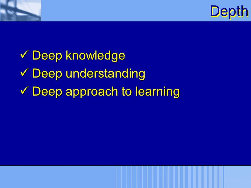 Depth Deep knowledge Deep knowledge Deep understanding Deep understanding Deep approach to learning Deep approach to learning