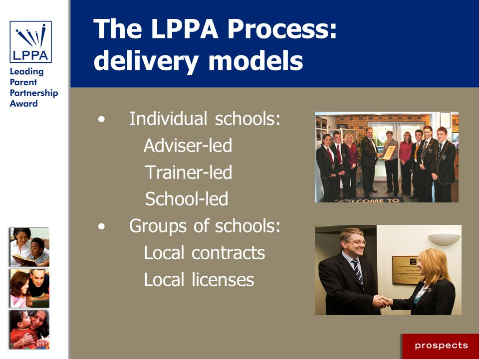 The LPPA Process: delivery models Individual schools: Adviser-led Trainer-led School-led Groups of schools: Local contracts Local licenses