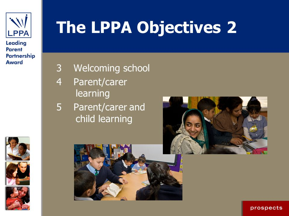 The LPPA Objectives 2 3 Welcoming school 4 Parent/carer learning 5 Parent/carer and child learning
