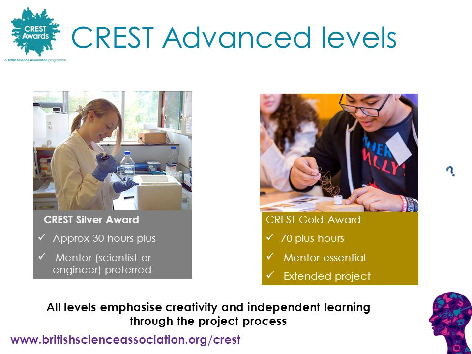 www.britishscienceassociation.org/crest CREST Silver Award Approx 30 hours plus Mentor (scientist or engineer) preferred CREST Gold Award 70 plus hours Mentor essential Extended project CREST Advanced levels All levels emphasise creativity and independent learning through the project process