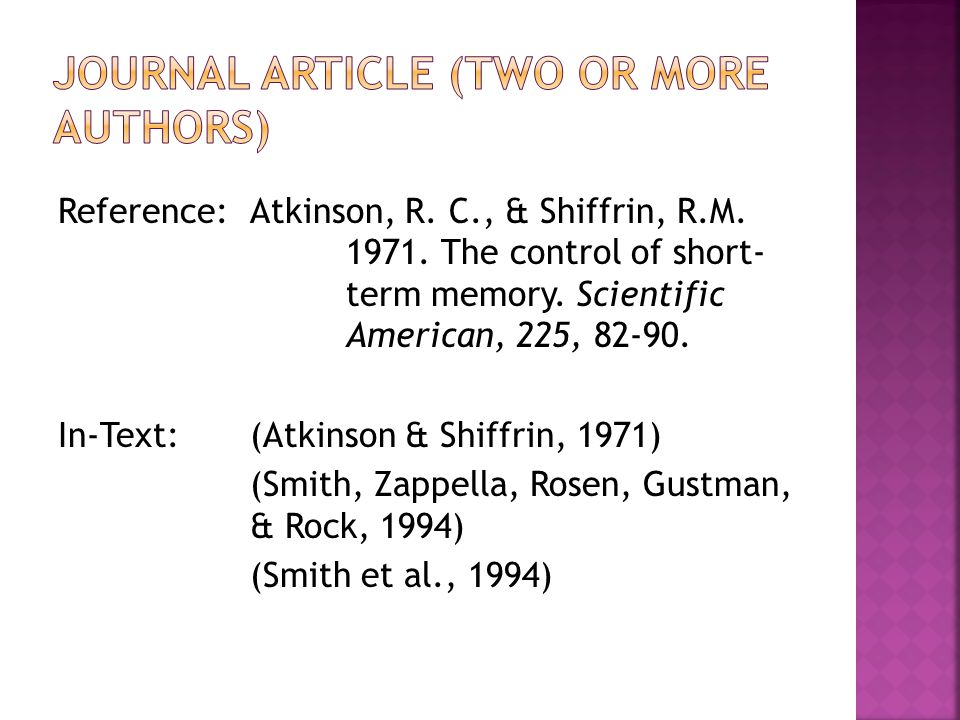 Reference:Atkinson, R. C., & Shiffrin, R.M. 1971.