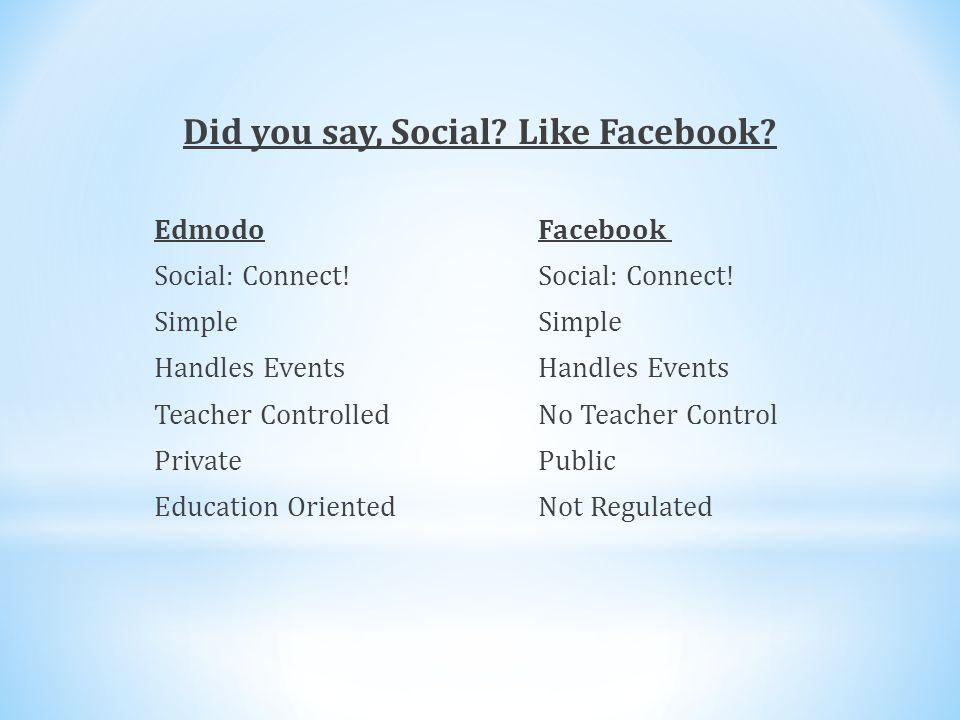 Did you say, Social. Like Facebook. Edmodo Facebook Social: Connect.