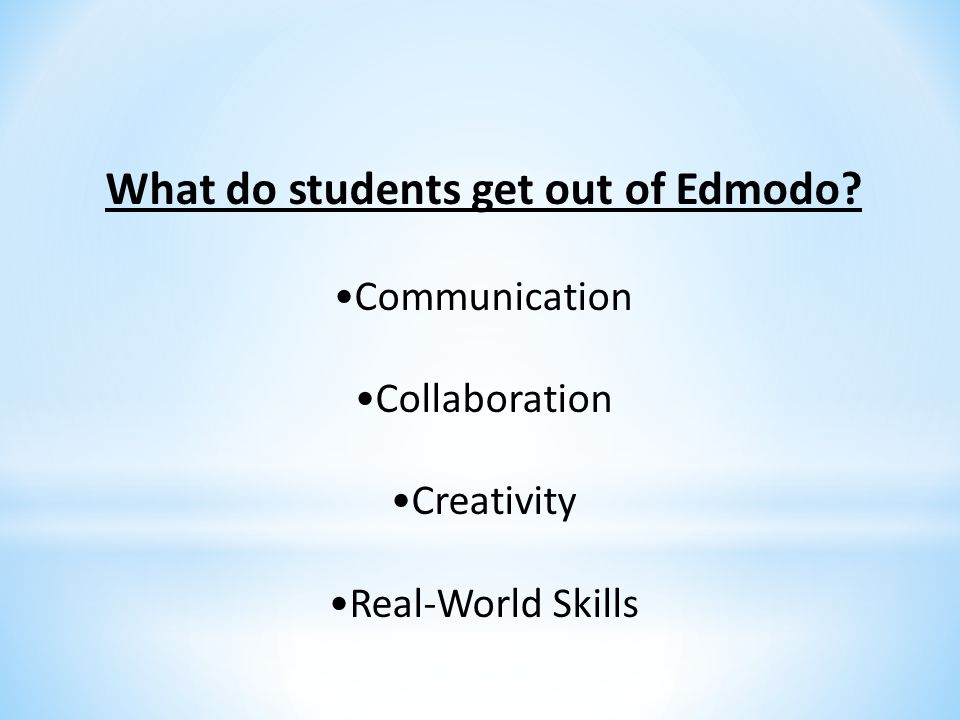 What do students get out of Edmodo? Communication Collaboration Creativity Real-World Skills