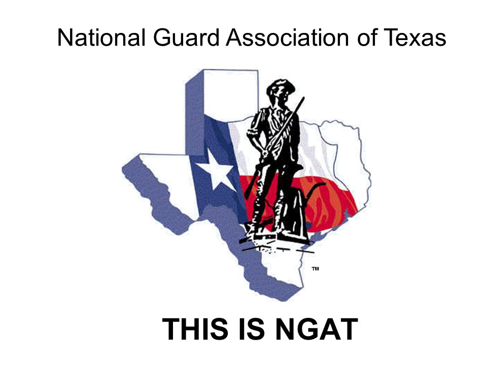 NGAT PURPOSE To be a premier professional organization that serves and advances the needs and interests of its members and provides advocacy and support for the Texas Military Forces.