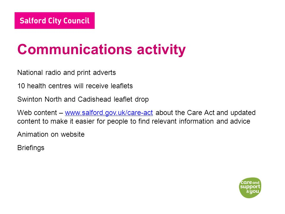 Communications activity National radio and print adverts 10 health centres will receive leaflets Swinton North and Cadishead leaflet drop Web content – www.salford.gov.uk/care-act about the Care Act and updated content to make it easier for people to find relevant information and advicewww.salford.gov.uk/care-act Animation on website Briefings