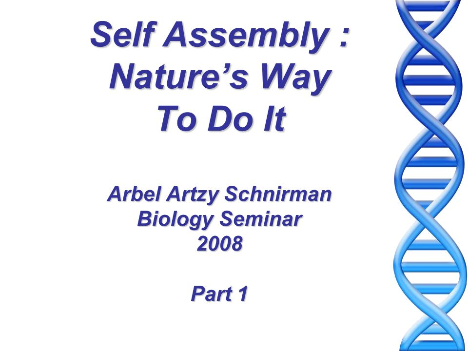 Self Assembly Self-Assembly (SA) is the spontaneous organization of molecules or objects into well-defined aggregates via noncovalent interactions (or forces) Building Blocks: molecules and objects with coded information for self-assembly Processing: mix, shake, and form product