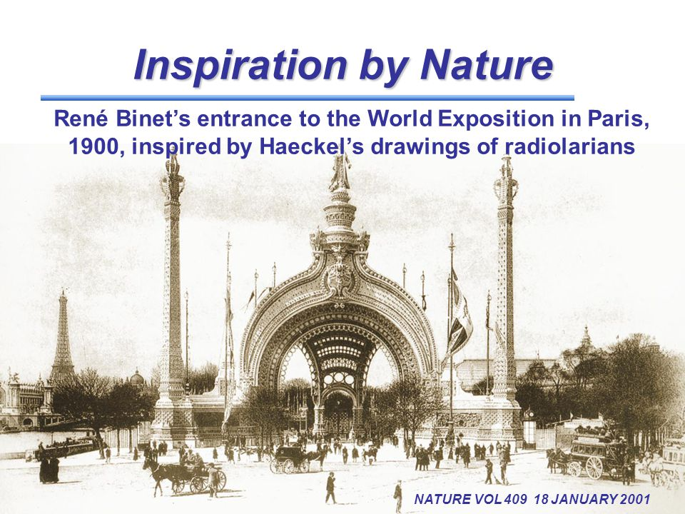 Inspiration byNature Inspiration by Nature NATURE VOL 409 18 JANUARY 2001 René Binet's entrance to the World Exposition in Paris, 1900, inspired by Ha
