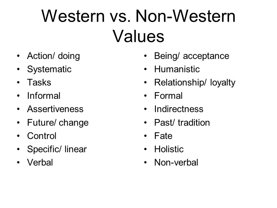 Western vs. Non-Western Values Action/ doing Systematic Tasks Informal Assertiveness Future/ change Control Specific/ linear Verbal Being/ acceptance