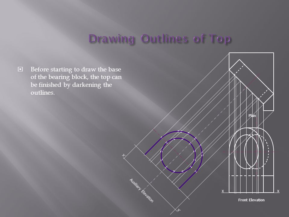  Before starting to draw the base of the bearing block, the top can be finished by darkening the outlines.