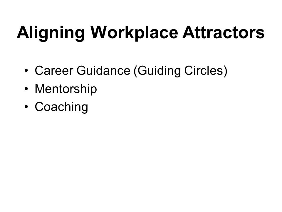 Aligning Workplace Attractors Career Guidance (Guiding Circles) Mentorship Coaching