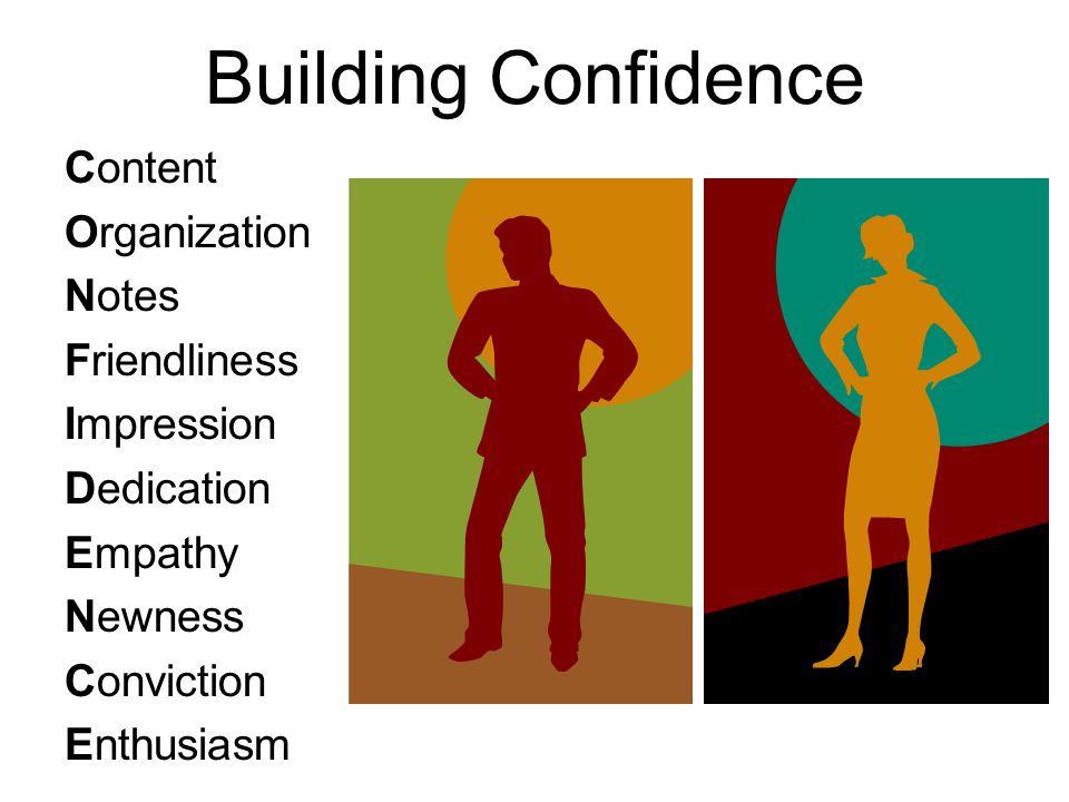 Building Confidence Content Organization Notes Friendliness Impression Dedication Empathy Newness Conviction Enthusiasm
