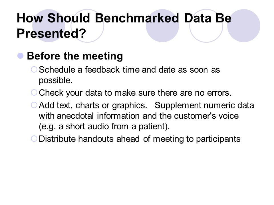 How Should Benchmarked Data Be Presented.