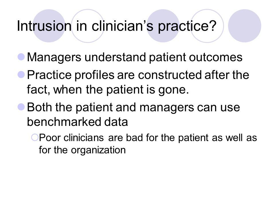 Intrusion in clinician's practice.
