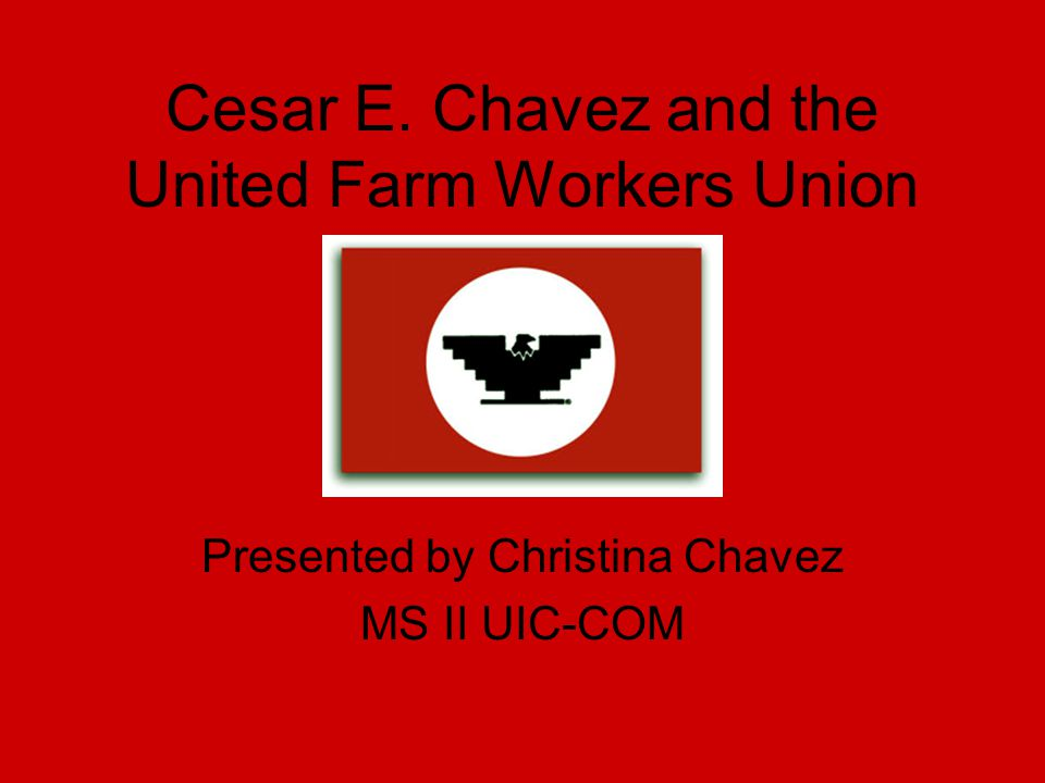 Cesar E. Chavez and the United Farm Workers Union Presented by Christina Chavez MS II UIC-COM