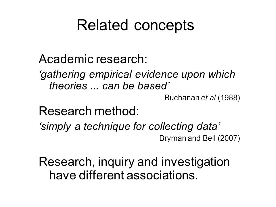Related concepts: Academic research: 'gathering empirical evidence upon which theories...