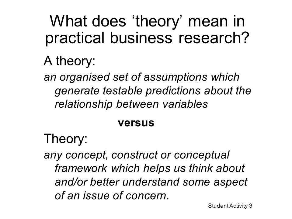 What does 'theory' mean in practical business Research.