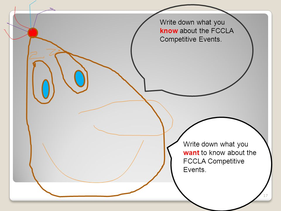 Write down what you know about the FCCLA Competitive Events.