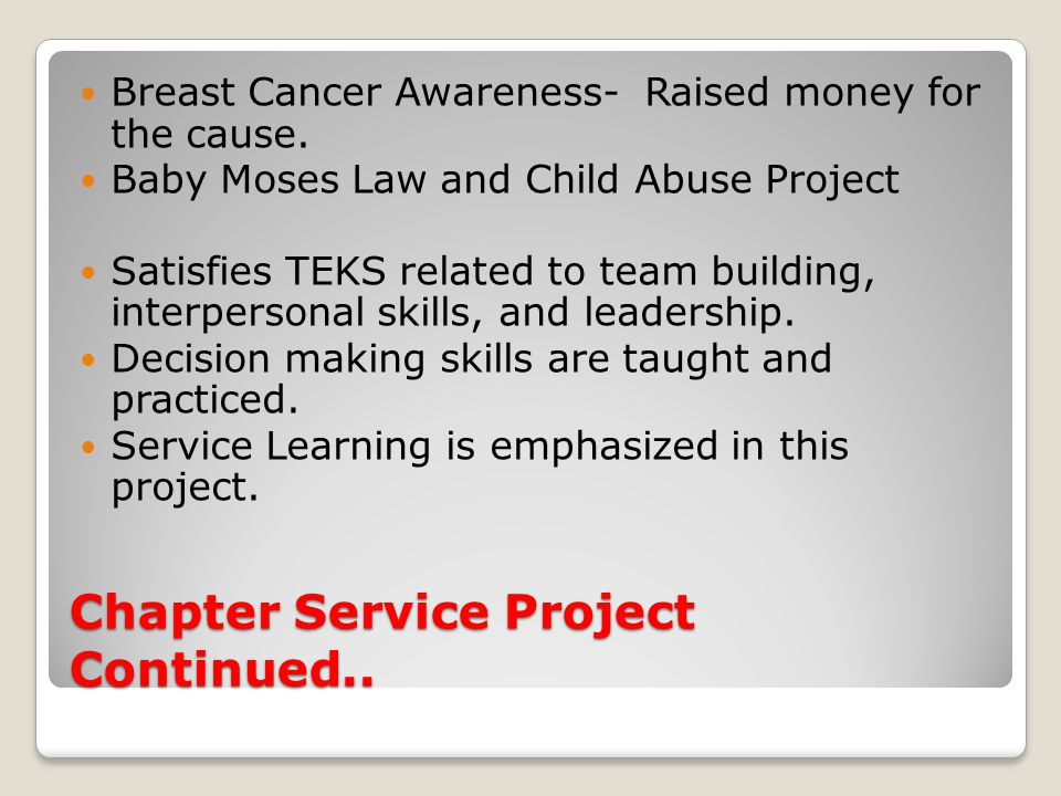 Chapter Service Project Continued.. Breast Cancer Awareness- Raised money for the cause.