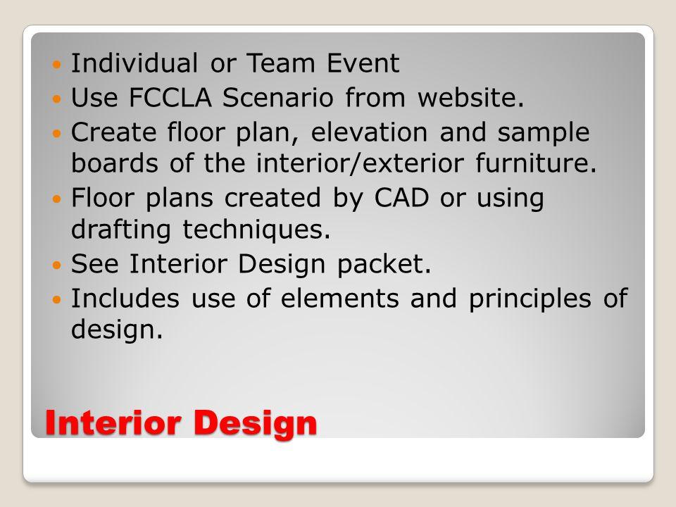 Interior Design Individual or Team Event Use FCCLA Scenario from website.
