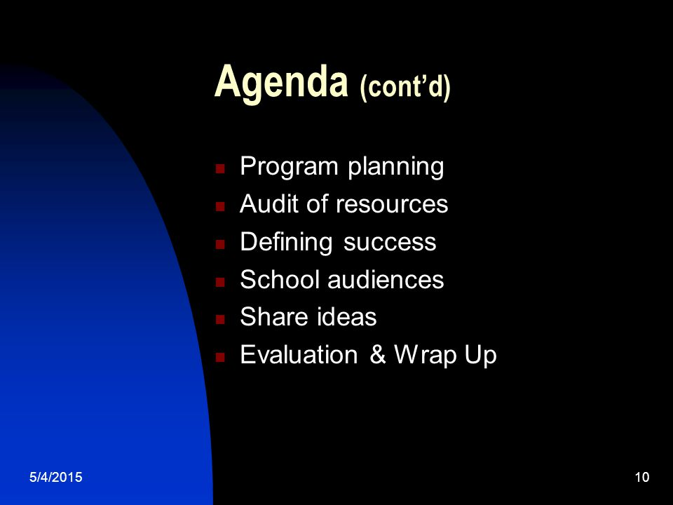 5/4/201510 Agenda (cont'd) Program planning Audit of resources Defining success School audiences Share ideas Evaluation & Wrap Up