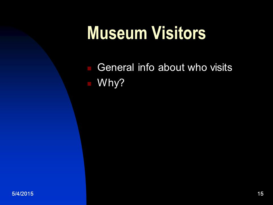 5/4/201515 Museum Visitors General info about who visits Why