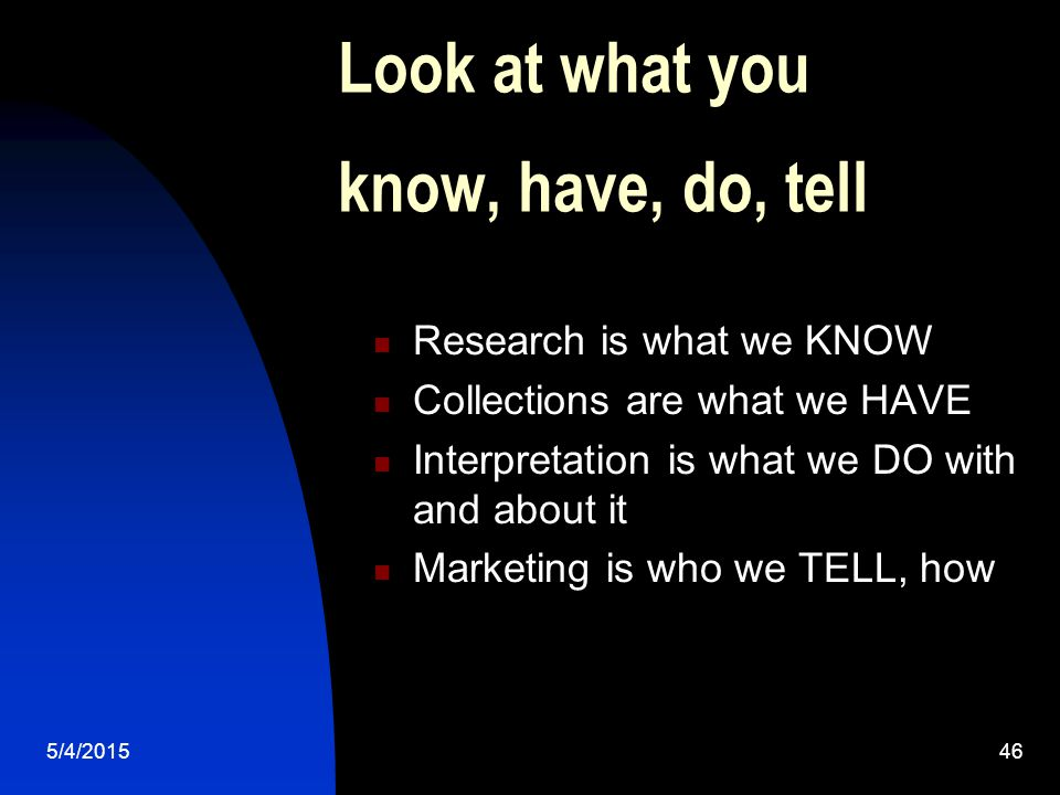 5/4/201546 Look at what you know, have, do, tell Research is what we KNOW Collections are what we HAVE Interpretation is what we DO with and about it Marketing is who we TELL, how