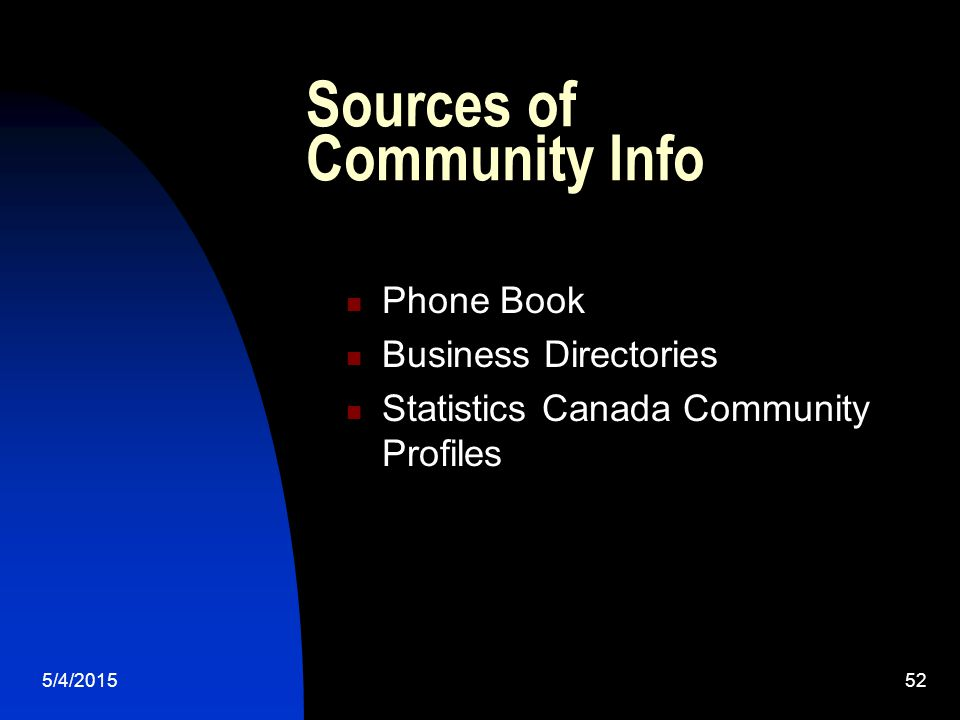 5/4/201552 Sources of Community Info Phone Book Business Directories Statistics Canada Community Profiles