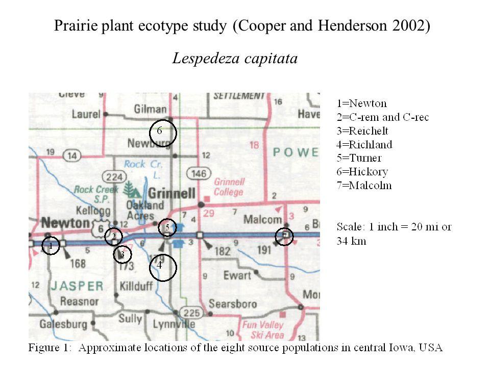Prairie plant ecotype study (Cooper and Henderson 2002) Lespedeza capitata
