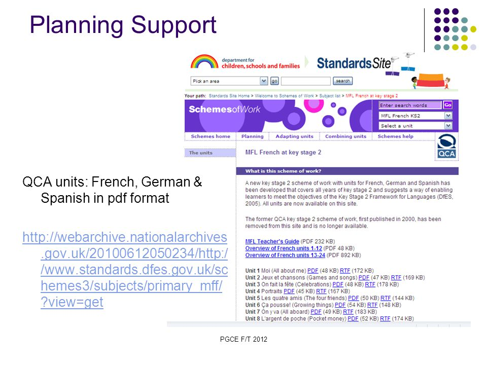 PGCE F/T 2012 Planning Support QCA units: French, German & Spanish in pdf format http://webarchive.nationalarchives.gov.uk/20100612050234/http:/ /www.standards.dfes.gov.uk/sc hemes3/subjects/primary_mff/ view=get