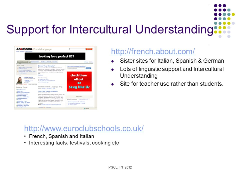 PGCE F/T 2012 Support for Intercultural Understanding http://french.about.com/ Sister sites for Italian, Spanish & German Lots of linguistic support and Intercultural Understanding Site for teacher use rather than students.