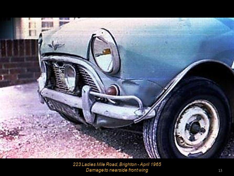 12 223 Ladies Mile Road, Brighton - April 1965 Damage to steering column