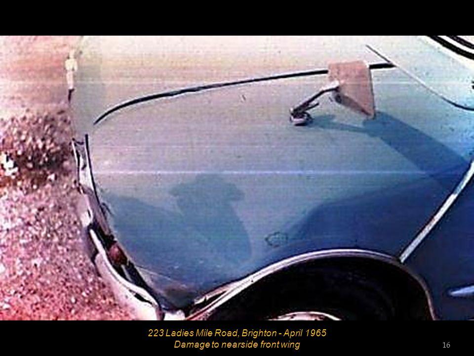 223 Ladies Mile Road, Brighton - April 1965 Damage to offside rear corner 15