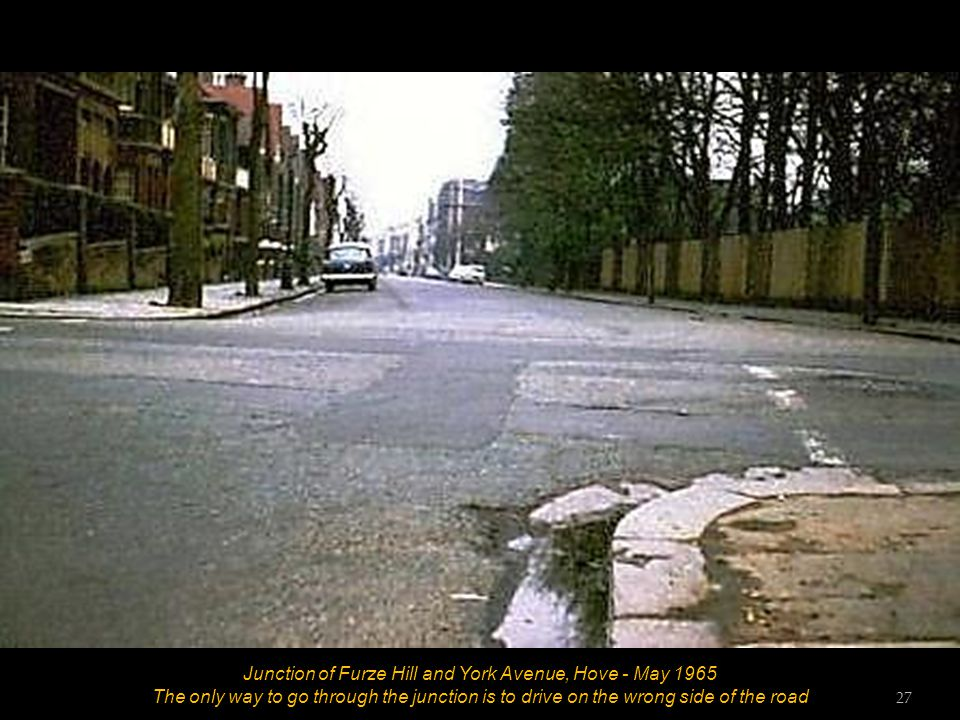 Junction of Furze Hill and York Avenue, Hove - May 1965 Faded road markings at junction 26