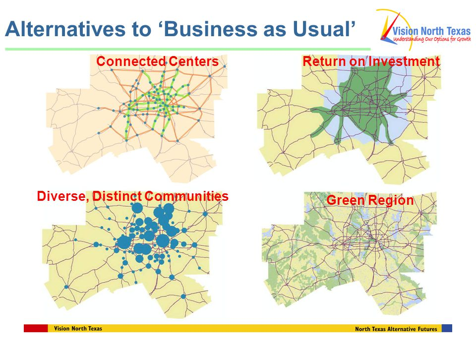 Alternatives to 'Business as Usual' Connected CentersReturn on Investment Diverse, Distinct Communities Green Region