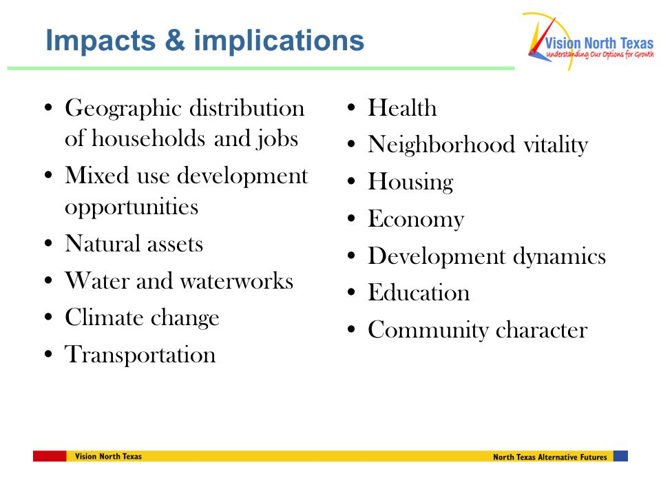 Impacts & implications Geographic distribution of households and jobs Mixed use development opportunities Natural assets Water and waterworks Climate change Transportation Health Neighborhood vitality Housing Economy Development dynamics Education Community character