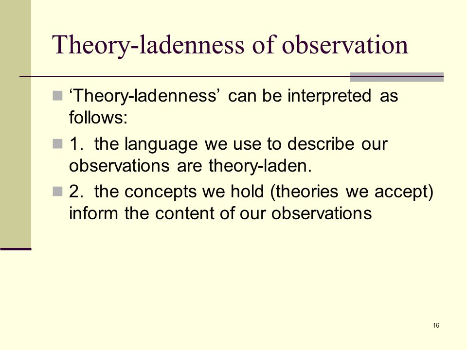 16 Theory-ladenness of observation 'Theory-ladenness' can be interpreted as follows: 1.