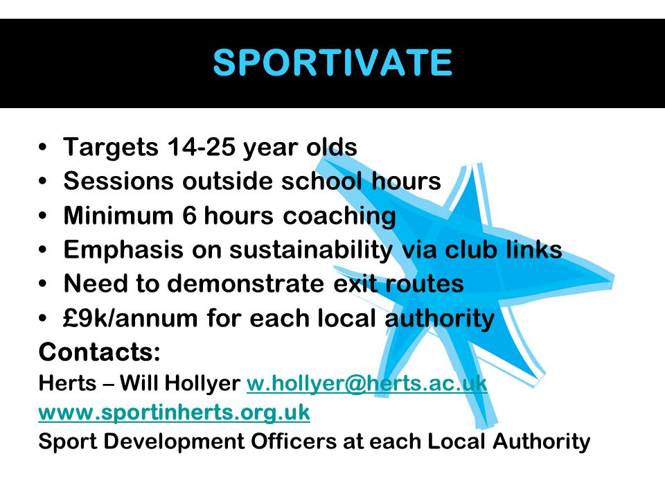 SPORTIVATE Targets 14-25 year olds Sessions outside school hours Minimum 6 hours coaching Emphasis on sustainability via club links Need to demonstrat